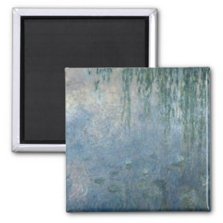 Claude Monet | Waterlilies: Morning Weeping Willow Square Magnet