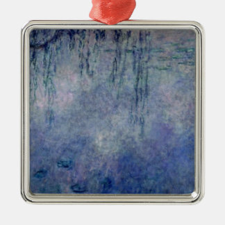 Claude Monet | Waterlilies: Weeping Willows left Silver-Colored Square Decoration