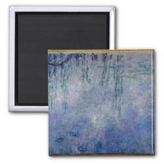 Claude Monet | Waterlilies: Weeping Willows left Square Magnet