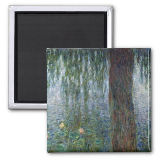 Claude Monet | Waterlilies Weeping Willows left Square Magnet