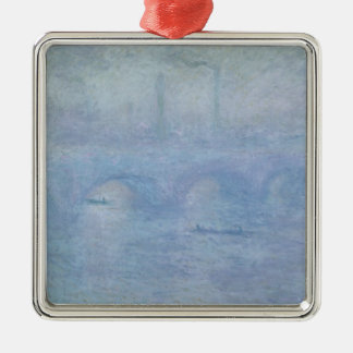 Claude Monet | Waterloo Bridge: Effect of the Mist Silver-Colored Square Decoration