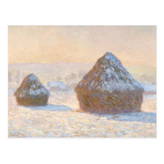 Claude Monet - Wheatstacks, Snow Effect, Morning Postcard