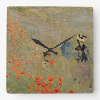Claude Monet | Wild Poppies, near Argenteuil Square Wall Clock