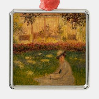 Claude Monet | Woman in a Garden, 1876 Silver-Colored Square Decoration