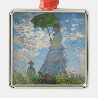 Claude Monet | Woman with a Parasol Silver-Colored Square Decoration