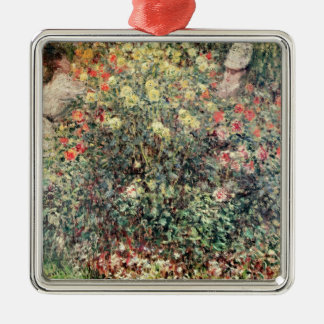 Claude Monet | Women in the Flowers, 1875 Silver-Colored Square Decoration