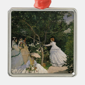 Claude Monet | Women in the Garden, 1866 Silver-Colored Square Decoration