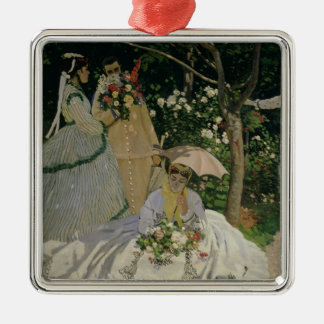 Claude Monet | Women in the Garden Silver-Colored Square Decoration
