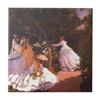 Claude Monet // Women in the Garden Small Square Tile