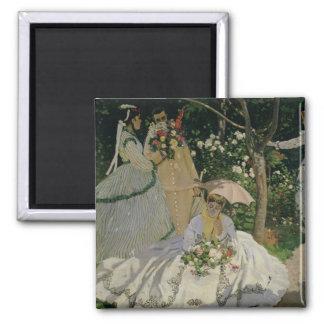 Claude Monet | Women in the Garden Square Magnet