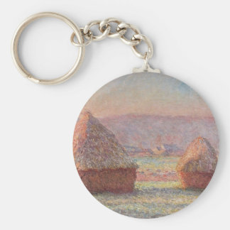 Claude Monet's White Frost Sunrise (1889) Basic Round Button Key Ring