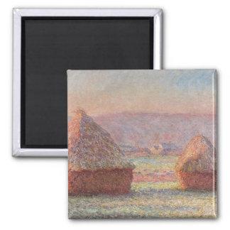 Claude Monet's White Frost Sunrise (1889) Square Magnet