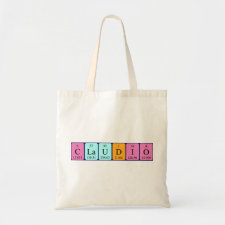 Bag featuring the name Claudio spelled out in symbols of the chemical elements