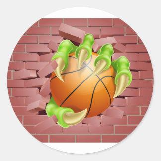 Claw with Basket Ball Breaking Through Brick Wall Round Sticker