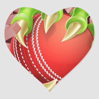 Claw with Cricket Ball Breaking Through Brick Wall Heart Sticker