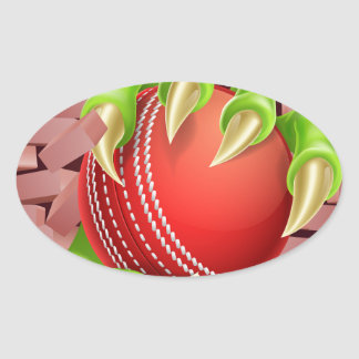 Claw with Cricket Ball Breaking Through Brick Wall Oval Sticker
