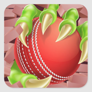 Claw with Cricket Ball Breaking Through Brick Wall Square Sticker
