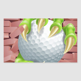 Claw with Golf Ball Breaking Through Brick Wall Rectangular Sticker