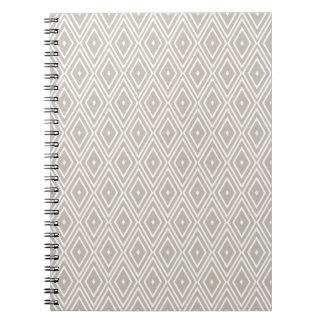 Clay and White Diamond Pattern Spiral Notebook