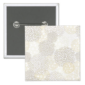 Clay and White Flower Burst Design 15 Cm Square Badge