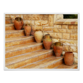 Clay Jars on Stone Steps Poster