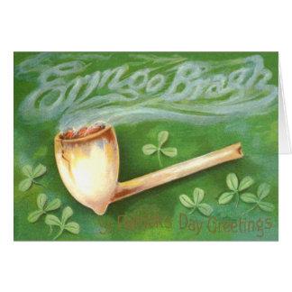 Clay Pipe Smoke Shamrock Greeting Card