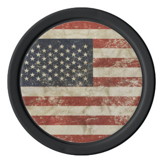 Clay Poker Chips with  grunge flag of USA