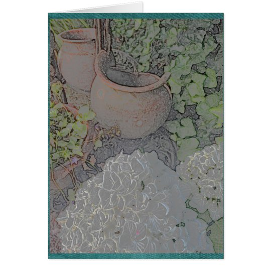 Clay pots and white hydrangea card