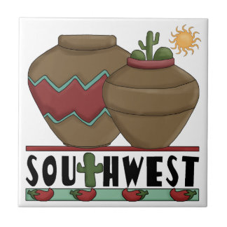 Clay Pottery, Cactus Plants, Chilis - Southwest Small Square Tile
