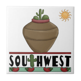 Clay Pottery & Desert Cactus - American Southwest Small Square Tile