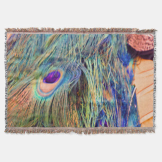 Clay Pottery Peacock Feathers Throw Blanket