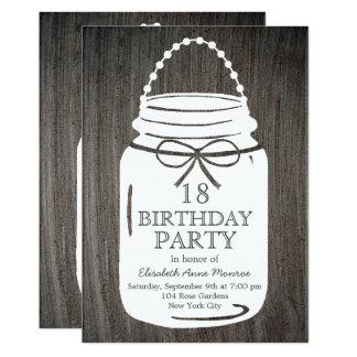 Clay Rustic Mason Jar 18th Birthday Card