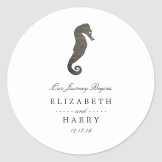 Clay Seahorse Beach Wedding Classic Round Sticker