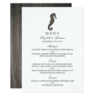 Clay Seahorse Beach Wedding Menu Card