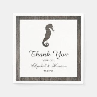 Clay Seahorse Beach Wedding Paper Napkins