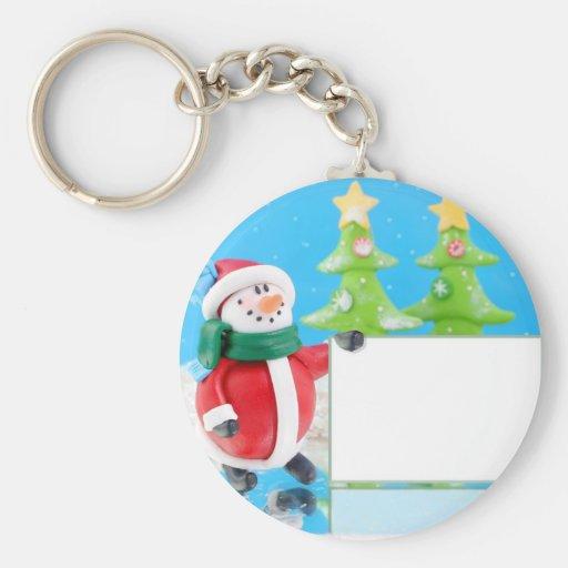 Clay snowman in winter wonderland holding a sign keychain
