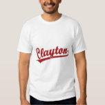 Clayton script logo in red t-shirts