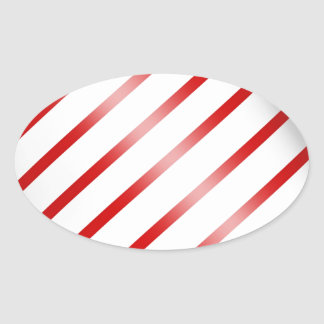 Clean Candy Cane Oval Sticker