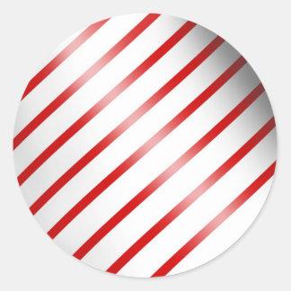 Clean Candy Cane Round Sticker