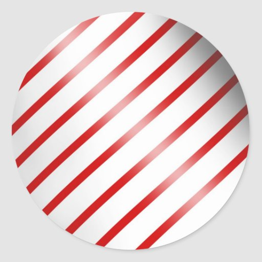 Clean Candy Cane Round Stickers