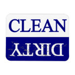 Clean dirty blue dishwasher vinyl magnets