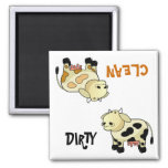 """CLEAN / DIRTY"" Cartoon Milk Cow Dishwasher Magnet"