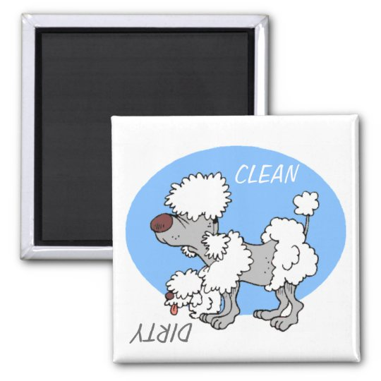 """CLEAN / DIRTY"" Cartoon Poodle Dishwasher Magnet"