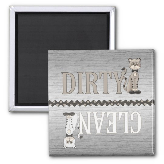 Clean-Dirty Cat Dishwasher Magnet