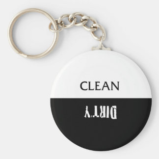 Clean Dirty Dishes Magnet Basic Round Button Key Ring