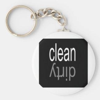 Clean/Dirty Dishwasher Magnet Basic Round Button Key Ring