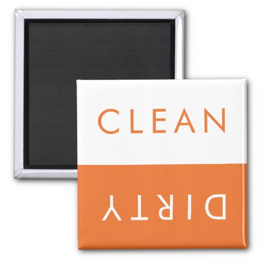 Clean Dirty Dishwasher Magnet in Orange & White