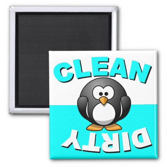 Clean Dirty Dishwasher magnet with penguin