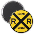 Clean Dirty Dishwasher Railroad Crossing Magnet