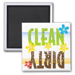 Clean Dirty Flower Square Magnet
